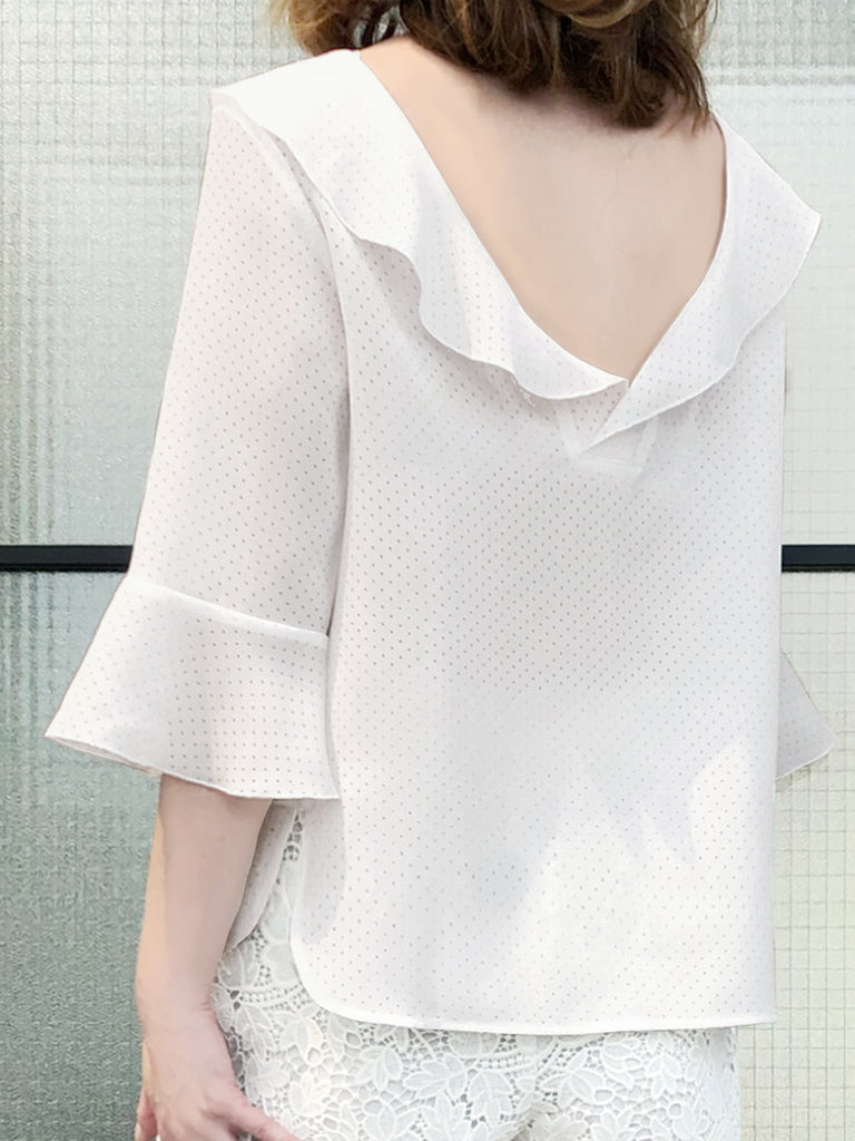 save up to 60% best deals on low price Further Sale! Tiny Cut-out Dots White Ruffle Collar Blouse