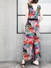 Surprise Sale! Summer Tropical Prints Silky Ruffle Waist V-neck Jumpsuit
