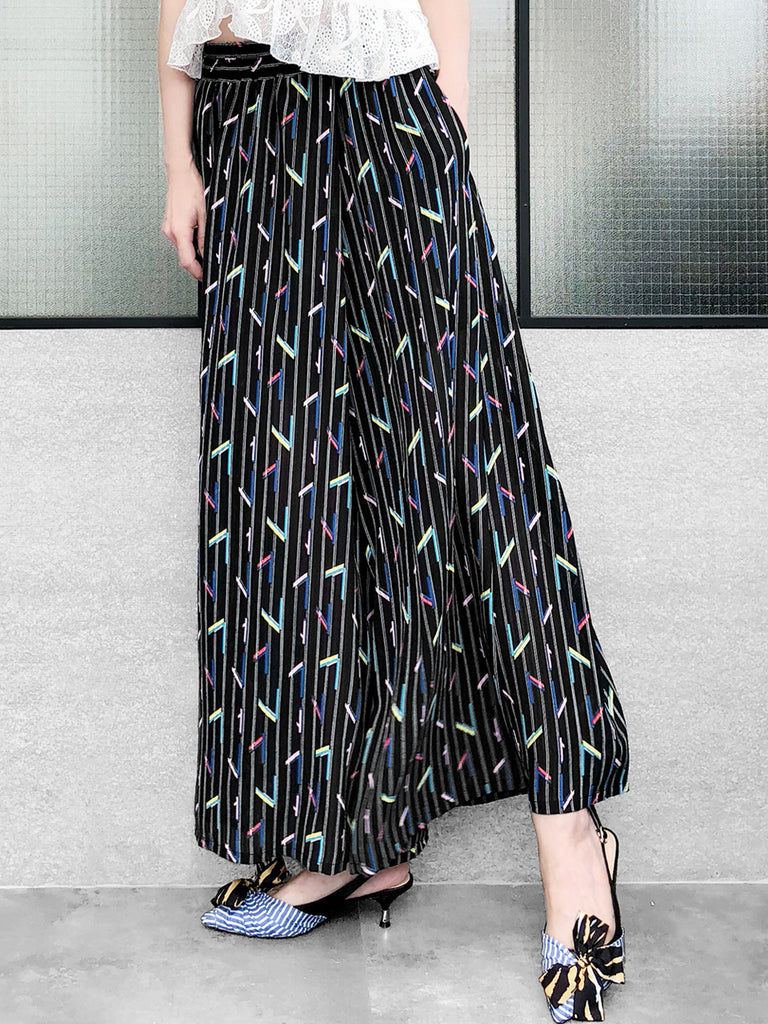 Surprise Sale! Black Stripes with Colourful Geo Print Chiffon Palazzo Pants