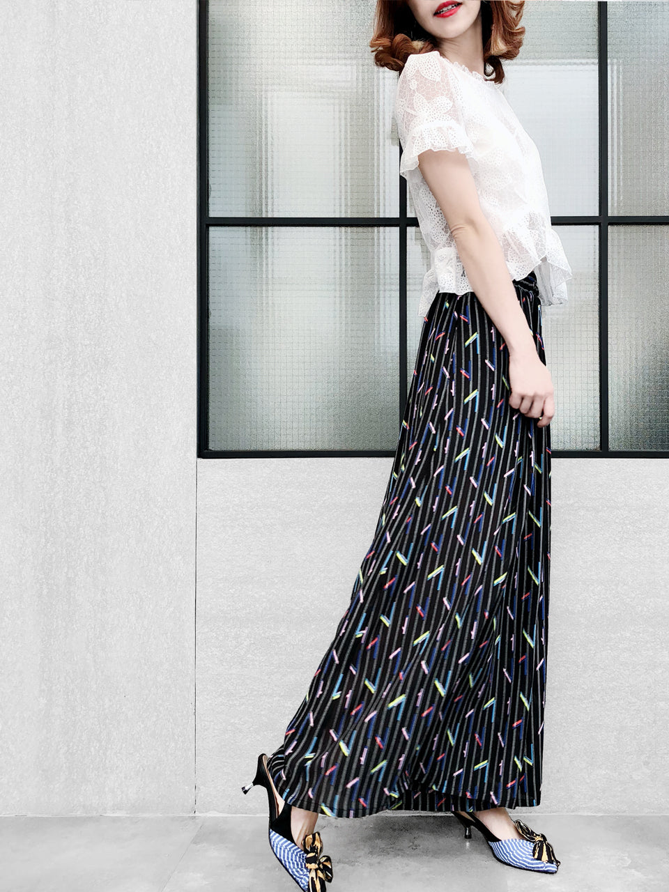 Black Stripes With Colourful Geo Prints Chiffon Palazzo Pants