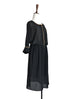 Last Chance! Black Batwing Amber Trim Edge Drape Chiffon Midi Dress