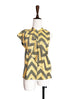 Further Sale! Yellow Zigzag Prints Asymmetrical Ruffles Sleeveless Silky Blouse
