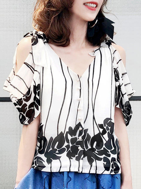 Further Sale! Floral Shades Silk Tie Cold Shoulder Button Blouse