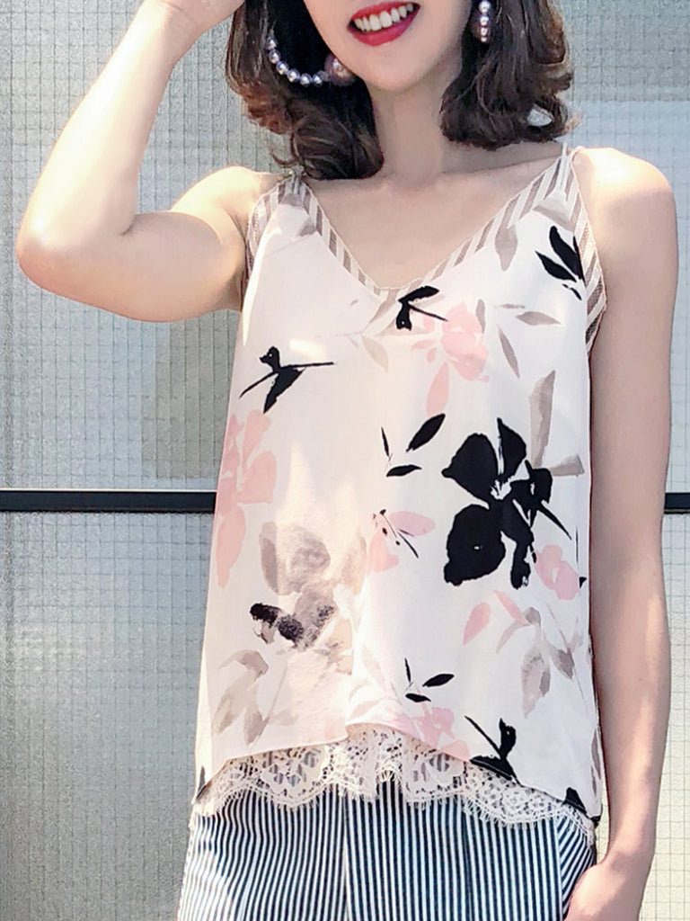 Further Sale! Romantic Pastel Flowers Silk Print Layered Lace Camisole