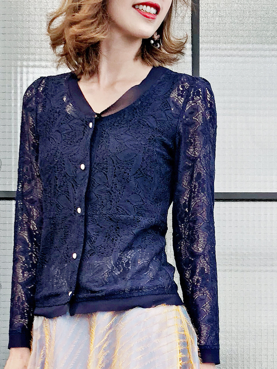 Last Chance! Chiffon Trim Floral Sheer Lace Jacket