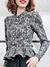 Surprise Sale! Black Lace Prints Wool Blend Ruffle Hem Cardigan