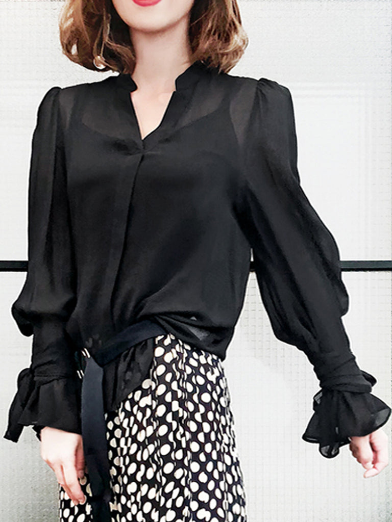 Surprise Sale! Signature Puff Shoulder Tie-Sleeves Relaxing Blouse