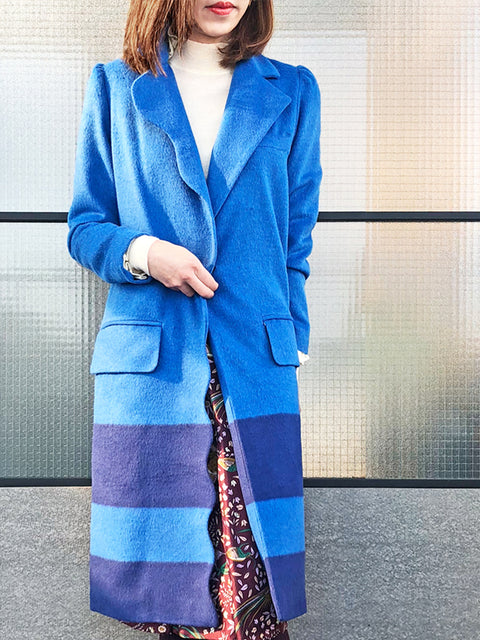Blue Scallop Trim Wool & Cashmere Blend Coat