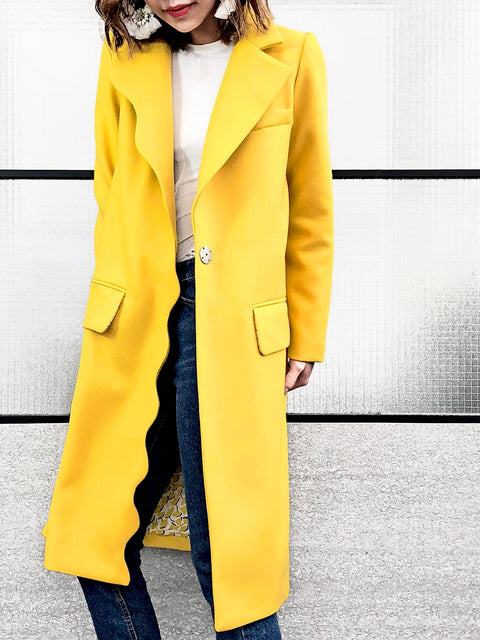 Trendy Yellow Scallop Trim Woollen Coat