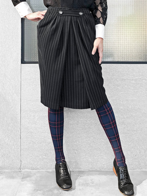 Further Sale! Black Pinstripe Button Front Easy Care Pencil Skirt
