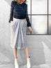 Further Sale! Grey Textured Button Front Cotton Blend Pencil Skirt