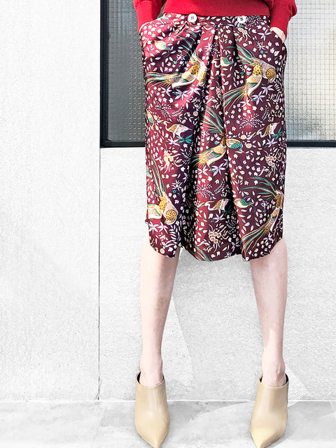 Further Sale! Exotic Birds Prints Button Front Silky Pencil Skirt