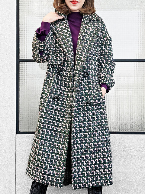 Last Chance! Chunky Tweed Double Breasted Wool Blend Boyfriend Coat