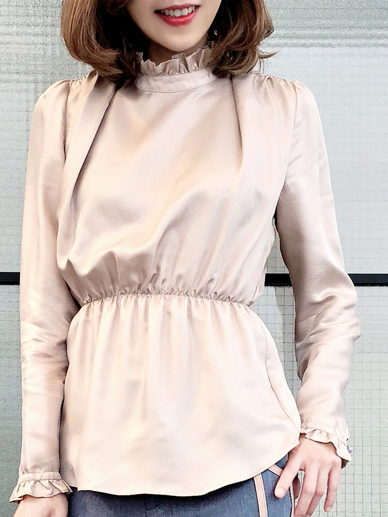 Further Sale! City Beige Ruffle Neck Cinched Waist Silk Blouse