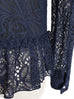 Last Chance! Navy Embroidery Lace Ruffle Peplum Blouse