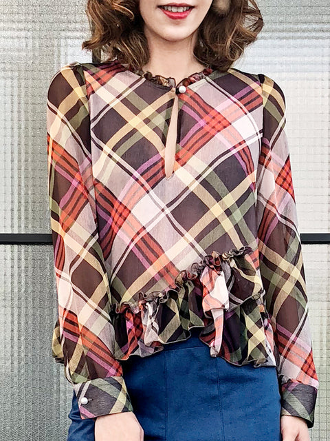 Surprise Sale! Nash Plaid Ruffle Peplum Crepe Blouse