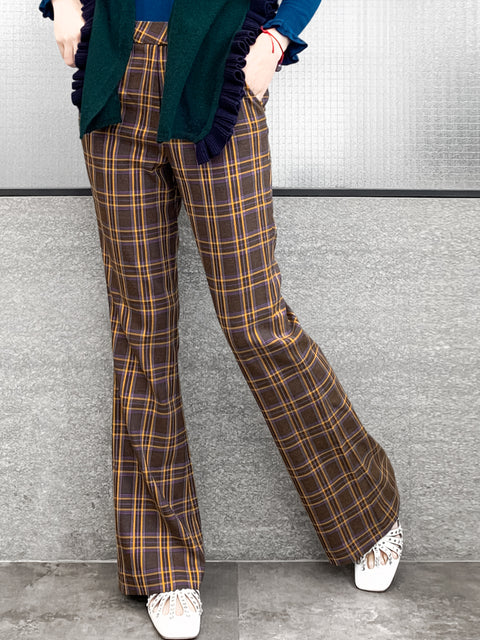 Brown Mix Check Flare Leg Stretch Cotton Blend Pants