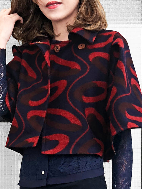 Further Sale! Iconic Navy Red Prints Wool Blend Cape