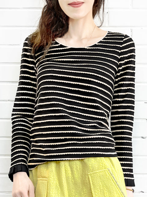 Black Scalloped Stripes Tonal Ruffle Cuff Knit Top