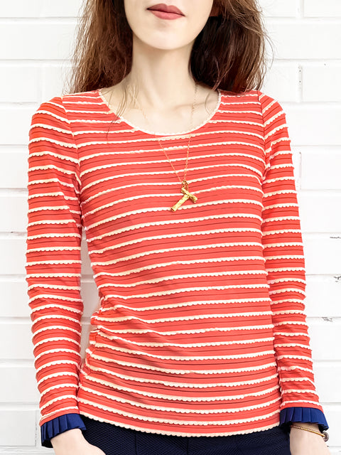 Red Orange Scalloped Stripes Contrast Ruffle Cuff Knit Top