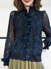 Last Chance! Navy Lace Center Ruffle Track Jacket