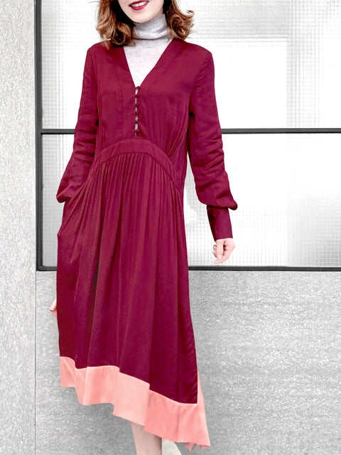 Wine Red With Salmon Pink Hem Colorblock Long Sleeve Maxi Dress