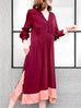 Last Chance! Wine Red With Salmon Pink Hem Colorblock Long Sleeve Maxi Dress