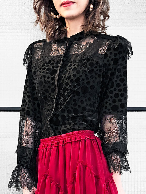 Special Velvet Dotty Black Eyelash Lace Trim Long Sleeve Blouse