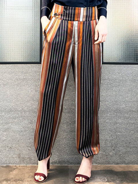 Retro Stripy Button Hems Breezy Silhouettes Pants