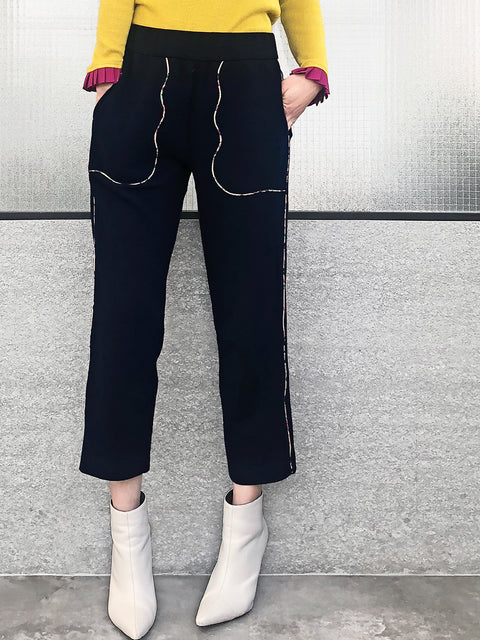 Navy Black With Printed Piping Pull-On Easy Pants