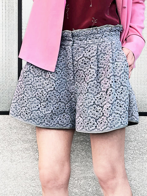 Lilac Floral Lace Two-tone Paperbag Waist Shorts