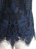 Surprise Sale! Navy Flora Peekaboo Lace Scalloped Mesh High-neck Top