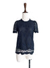 Surprise Sale! Navy Floral Embroidery Lace Scalloped Mesh High-neck Top