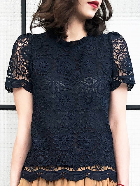 Navy Floral Embroidery Lace Scalloped Mesh High-neck Top