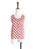 Surprise Sale! Polka Dots Scallop Trim Cutout Silk Tank