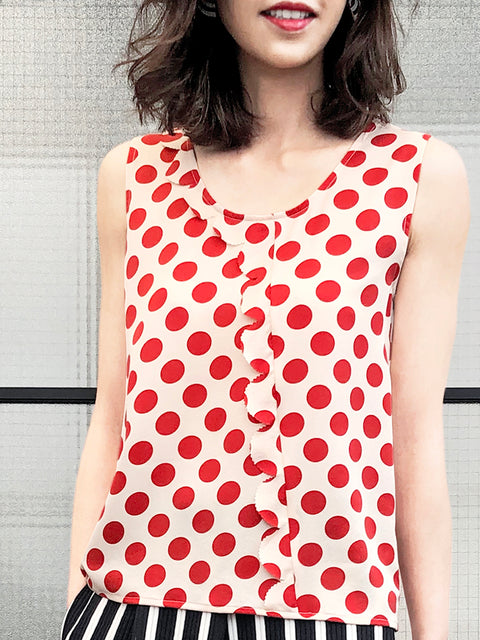 Polka Dots Scallop Trim Cutout Silk Tank