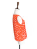 Surprise Sale! Orange Inkspot Dots Ruffle Trim Scoop Neck Silk Tank