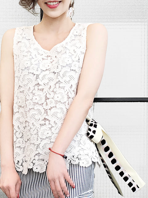 Surprise Sale! White Lace Single Open Side Scarf Tie Bow Sleeveless Top