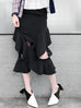 Classic Contemporary Black Ruffled Cut-out Skirt