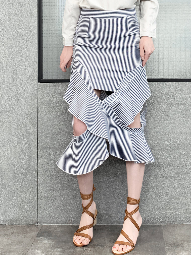 Blue-Grey with White Stripe Ruffled Cut-out Skirt