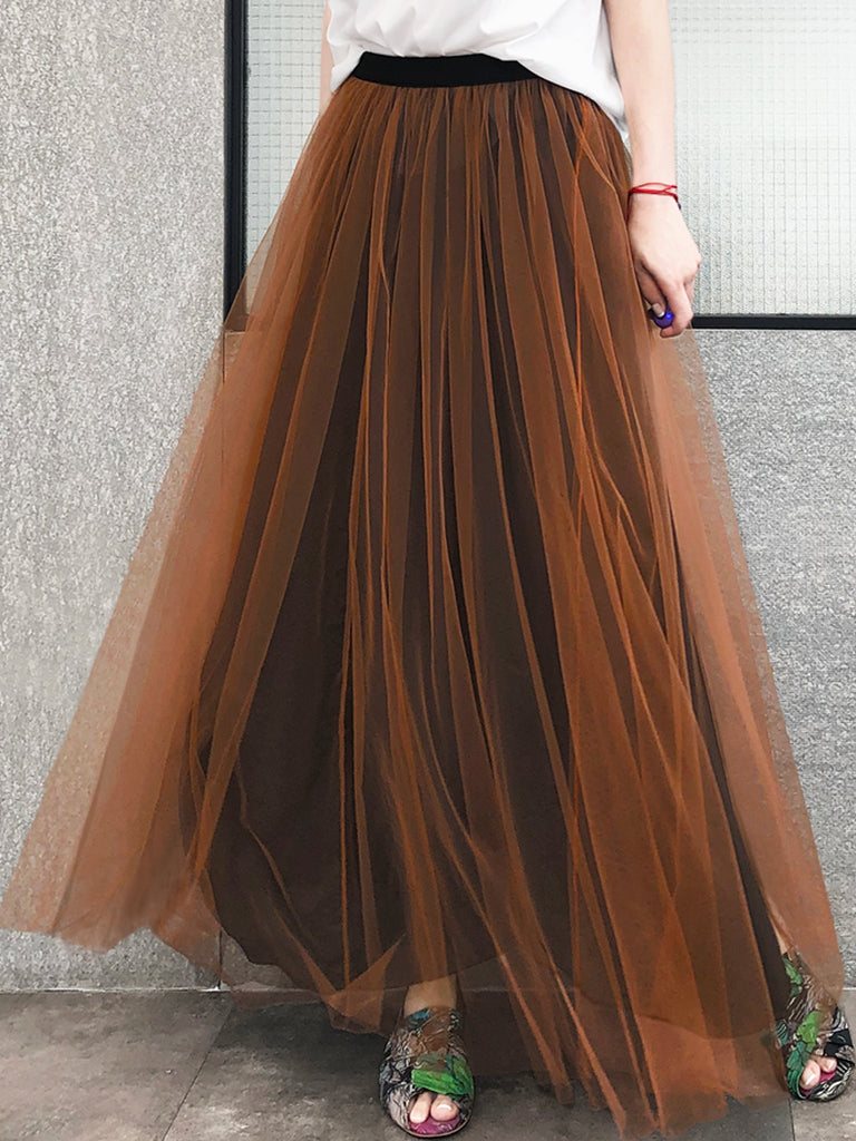 Surprise Sale! Caramel Brownish Shades Tonal Layer Tulle Chiffon Maxi Skirt