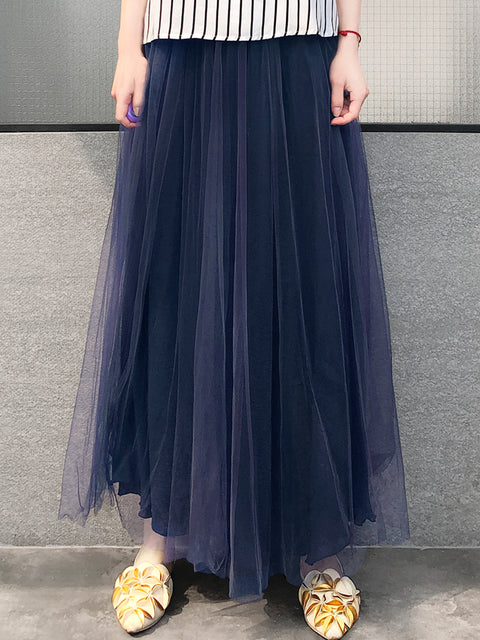 Purplish Navy Shades Tonal Layer Tulle Chiffon Maxi Skirt