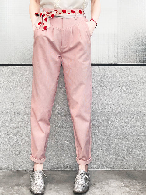Red Drapey Tie Waist Stripe Stovepipe Taper Pants