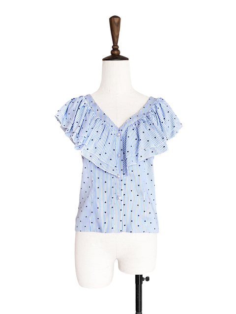 Blue Stripes Hearty Double Ruffle V-Neck Cotton Blend Blouse