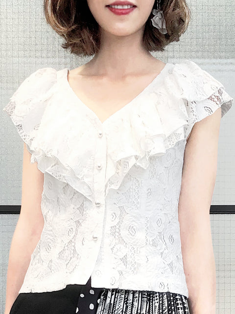 White Floral Lace Double Ruffle V-Neck Cotton Blend Blouse