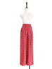 Red Dotty Shimmering Silk Print Paperbag Waist Wide Leg Trousers
