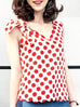 Surprise Sale! Polka Dot Print Scallop V-neck Silk Tank With Removable Bow