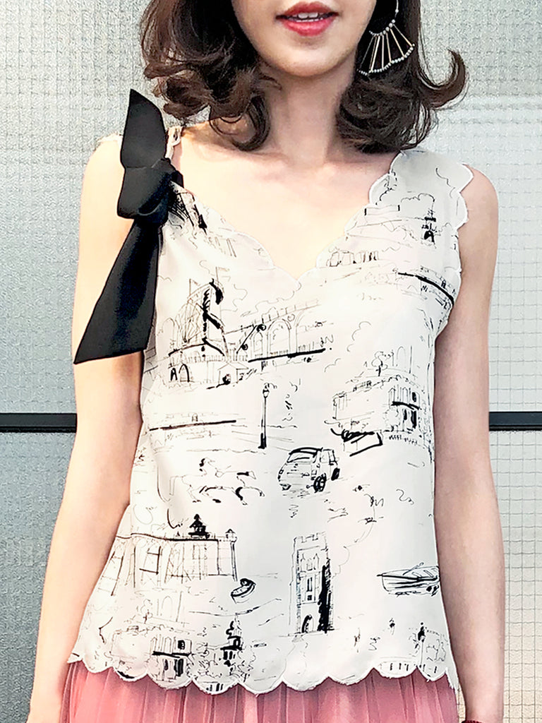 Surprise Sale! Landscape Print Scallop V-neck Silk Tank With Removable Bow