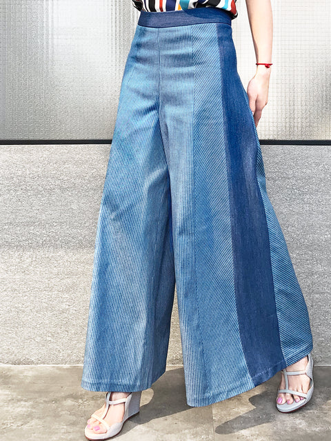 TYNVIE Signature! Summer Denim Colour Blocking Wide Leg Trousers