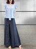 Dark Denim Stripe Blocking Wide Leg Trousers